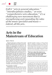 Arts in the Mainstream of Education
